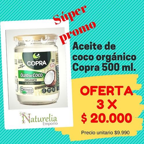 3 Aceite de coco orgánico Copra 500ml.