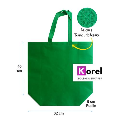 Bolsa Tnt reutilizable verde 32x40x9 cms. (Resiste hasta 12k)