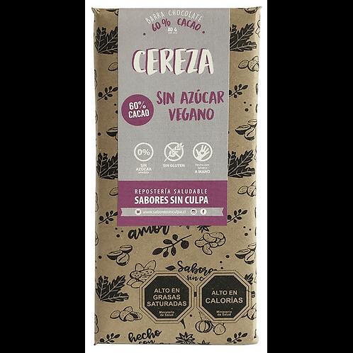 Barra de chocolate vegano 60% cacao con cerezas