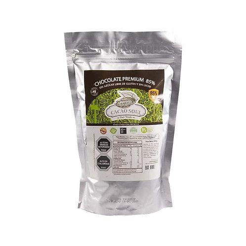 Cobertura de chocolate sin azúcar 85% Cacao Soul 500g.