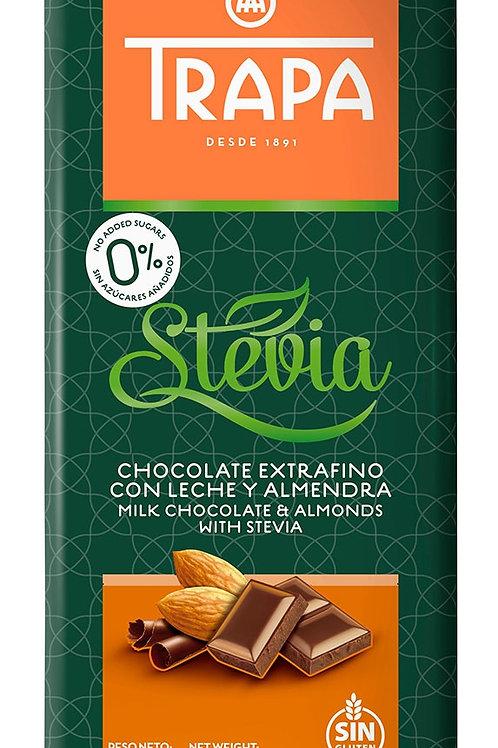 Chocolate extrafino con leche y almendras, con stevia Trapa 75g.
