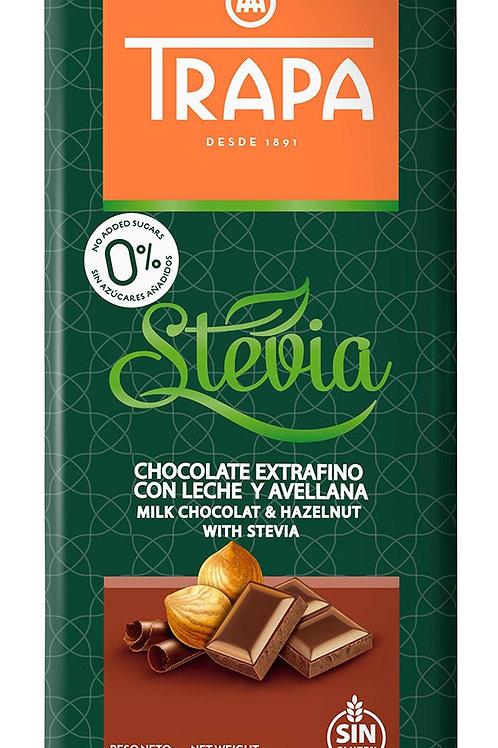 Chocolate extrafino con leche y avellanas, con stevia Trapa 75g.