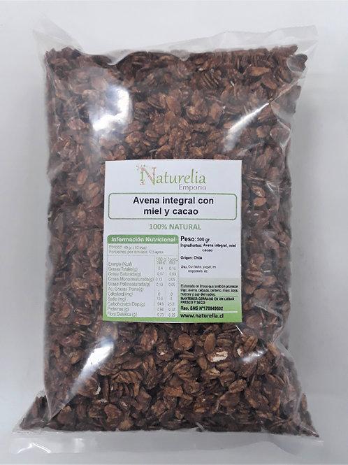 Avena integral con miel y cacao Naturelia 500g.