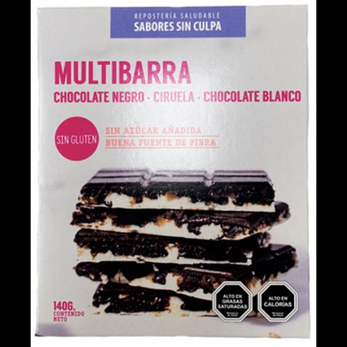 Multibarra Chocolate Negro, Ciruela y Chocolate Blanco sin azúcar 140g.