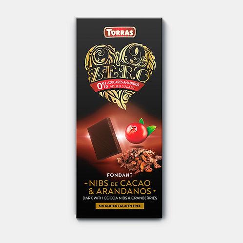 Chocolate negro con nibs de cacao y arándanos 0% azúcar, sin gluten Torras 125g
