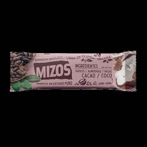 Barra natural de frutos secos cacao y coco Mizos