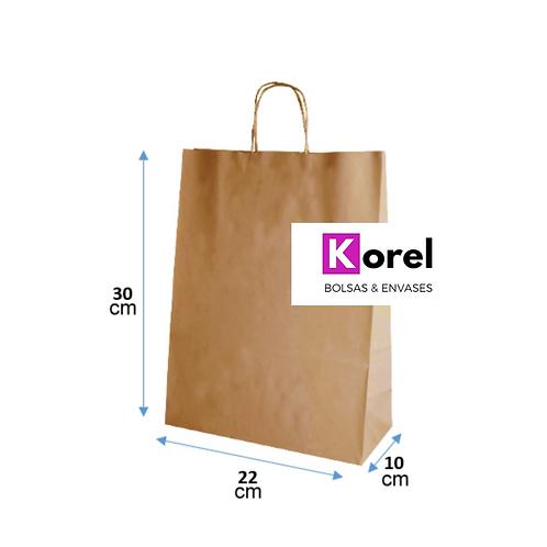 Bolsa de papel kraft 22x30x10 cm.