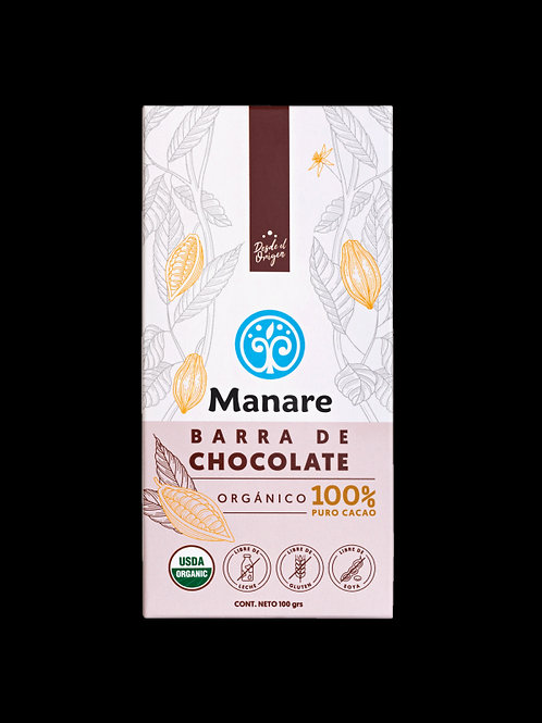 Chocolate Orgánico 100% Cacao Manare