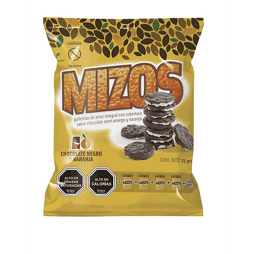 Galletas de arroz integral chocolate naranja 25gr.