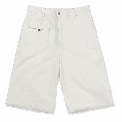 White raw hem shorts