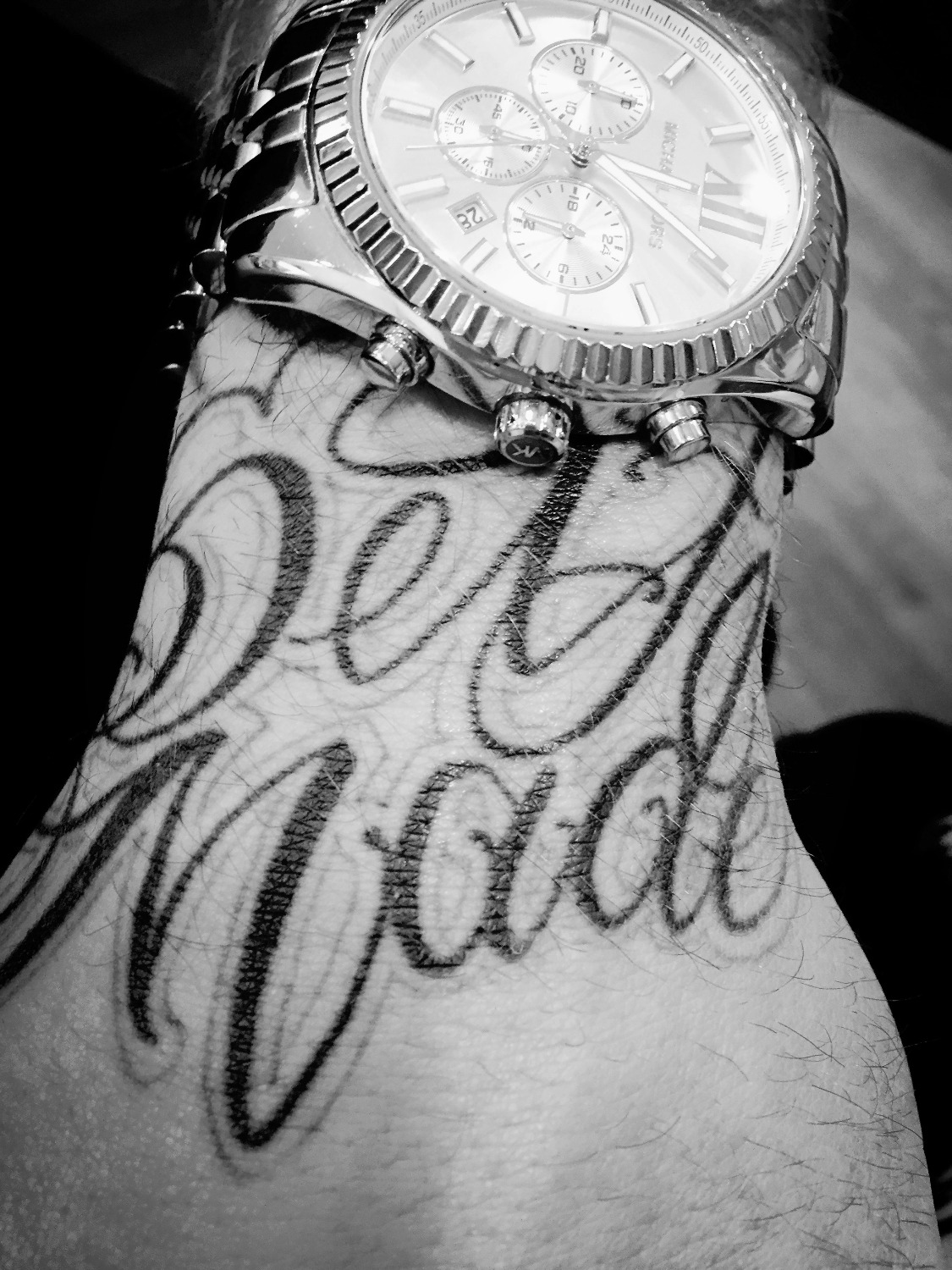 Script Hand Tattoo w/ Watch