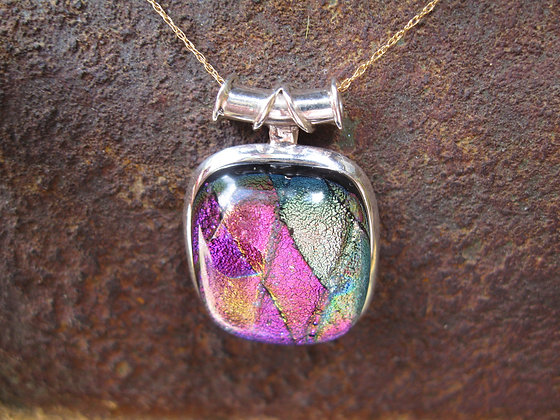 Pink Dichroic Glass Necklace, Item # 10117