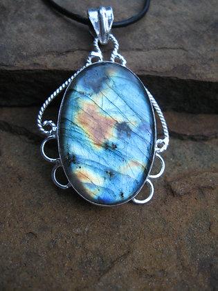 Item # 10150  Silver Tone Labradorite Pendant