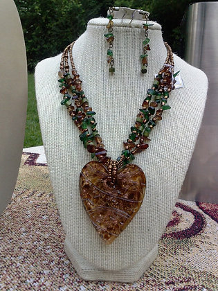 Green Bead Necklace-Earring Set, Item #10098