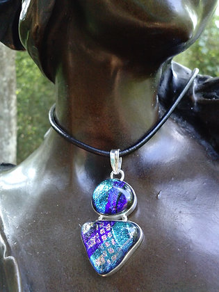 Blue Dichroic Glass Pendant,Item #10114