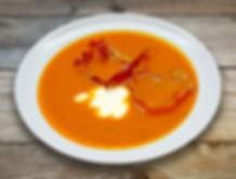 Суп-пюре из тыквы с беконом и сметаной.j