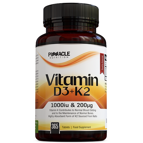 Vitamin K2 200ug (MK7) + Vitamin D3 1000iu - 365 Tablets
