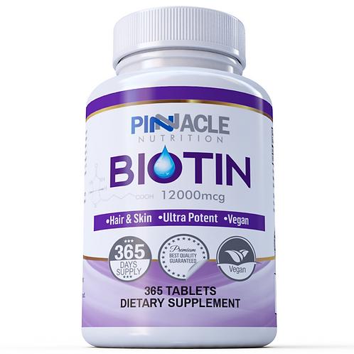 Biotin 12,000 mcg - 365 Vegan Tablets