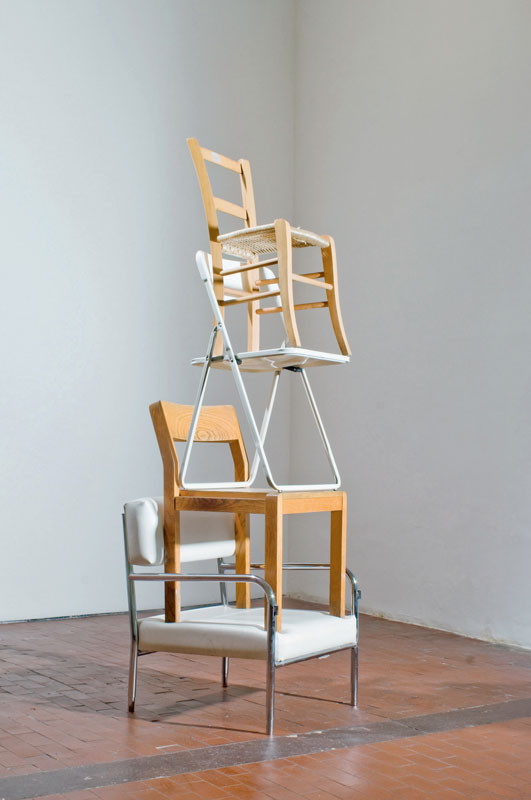 Martin Creed Work No. 925 2008 Various chairs 188 x 55 cm Courtesy Hauser and Wirth Zurich © Martin Creed