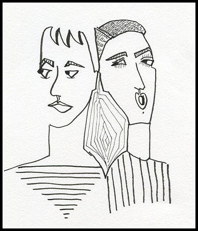 couple with straight lines PM and framed