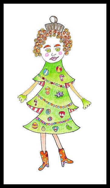 Holiday Ornament: Girl Tree