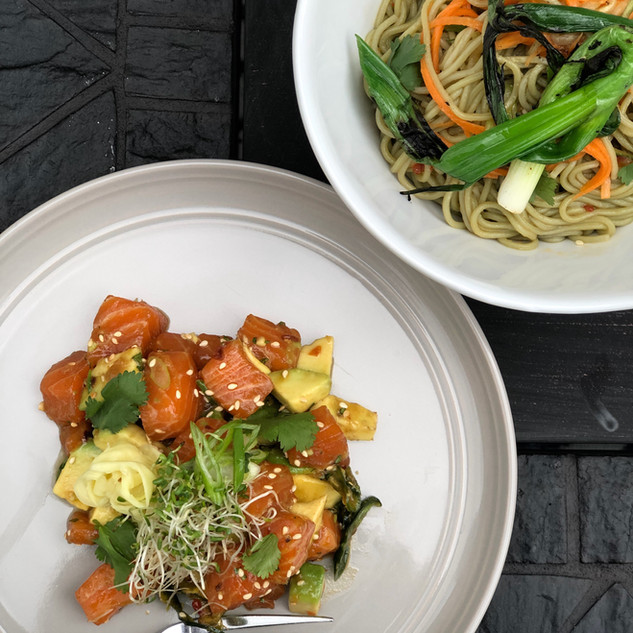 Stella Salmon Poke with chilled green tea noodles