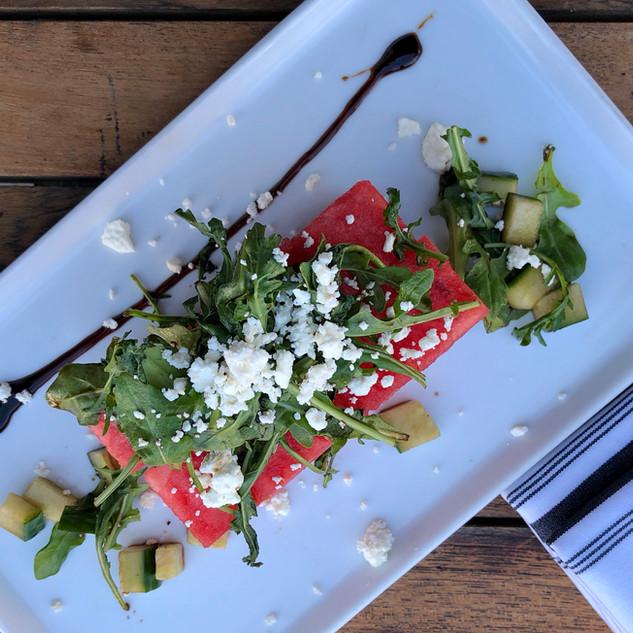 Stella watermelon-cucumber salad with arugula and feta