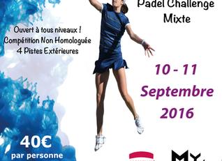 Le Padel Challenge Mixte REPORTE en septembre