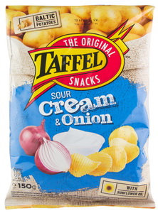 Crisps With Sour Cream And Onion, Taffel -150g