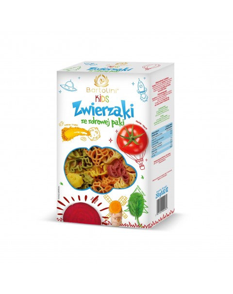 "Pasta In Five Flavors For Children -Animals"" Bartolini Kids"