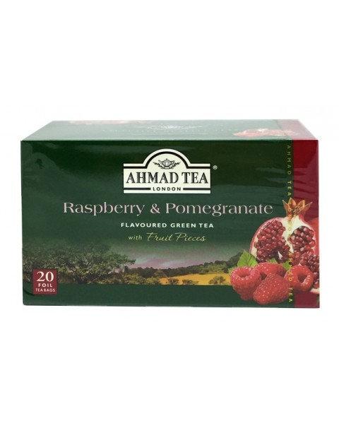 """Чай """"AHMAD"""" Зеленый С Ароматом """"Малина & Гранат"""" (20 Пакетиков С Бирками )"""