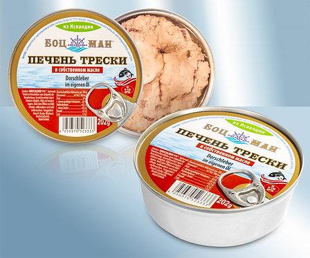Печень трески в собственном соку и масле - 202g