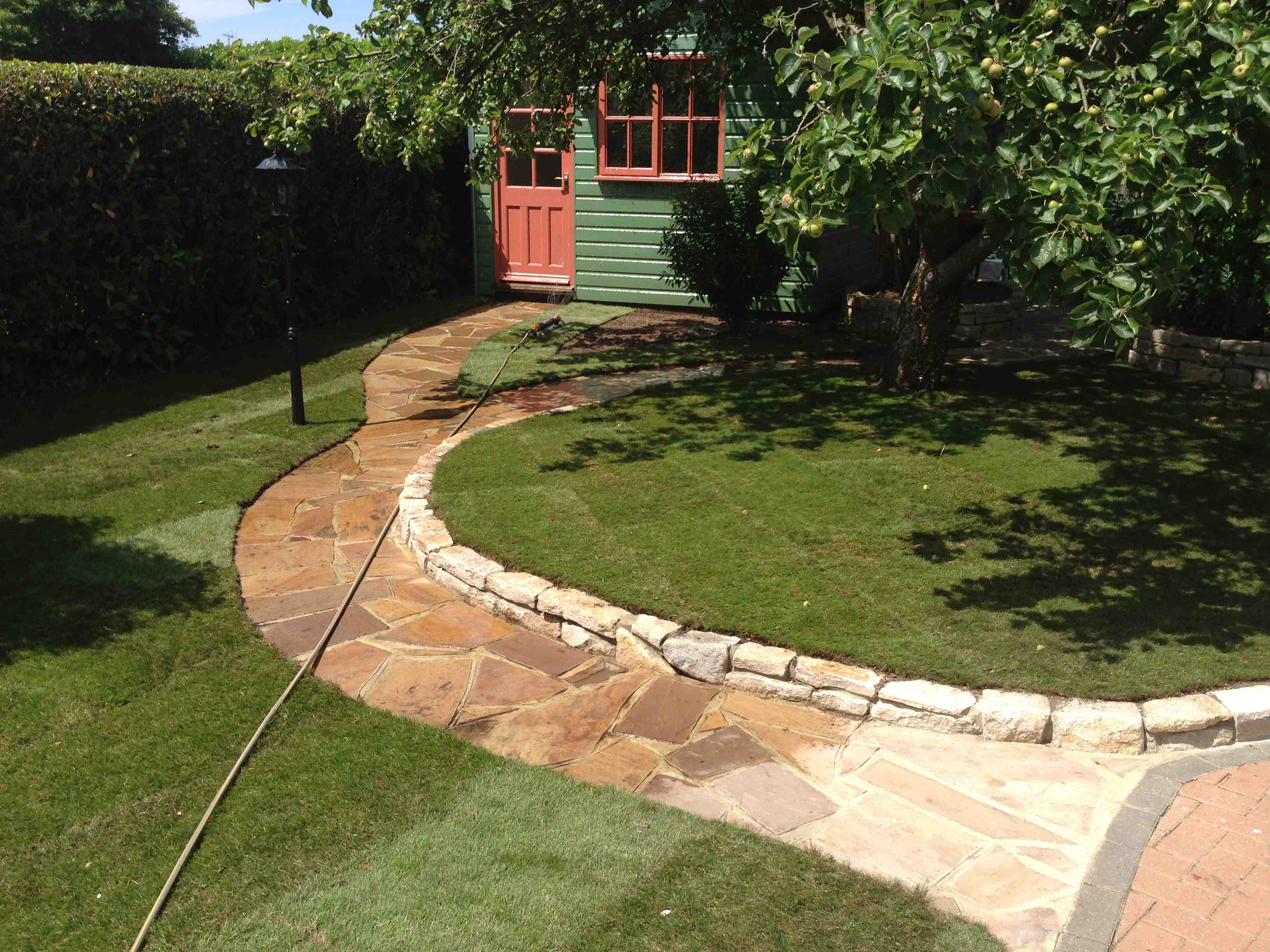 Walling, path and turf - Walkford