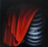 Huile sur toile, peinture, Garance Monziès, cage, rouge, voile, thérapie, clé, enfance