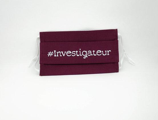 Masque anti-postillons #Investigateur pailleté argent (Prune)