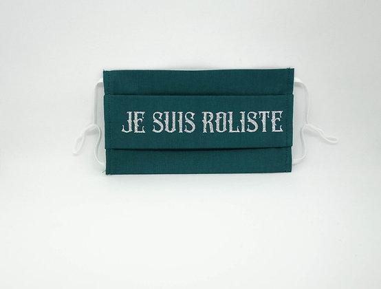 Masque anti-postillons je suis rôliste argent pailleté  (vert)
