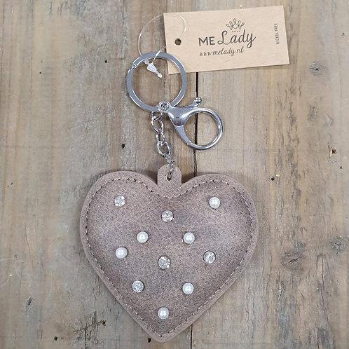 Sleutelhanger hart parels