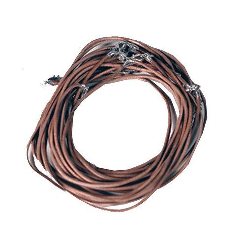 Lederen halsketting met karabijnslotje lichtbruin 45 cm