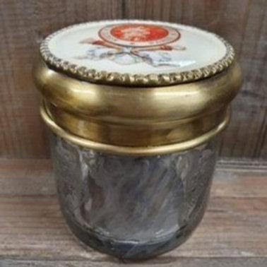 Emaille decoratie potje met dik geslepen glas
