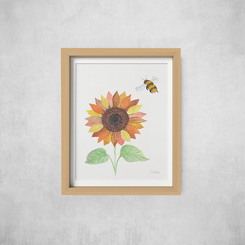 Sunflower and Bee Print