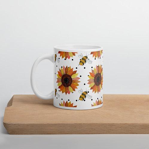 Sunflower and Bee patten Mug