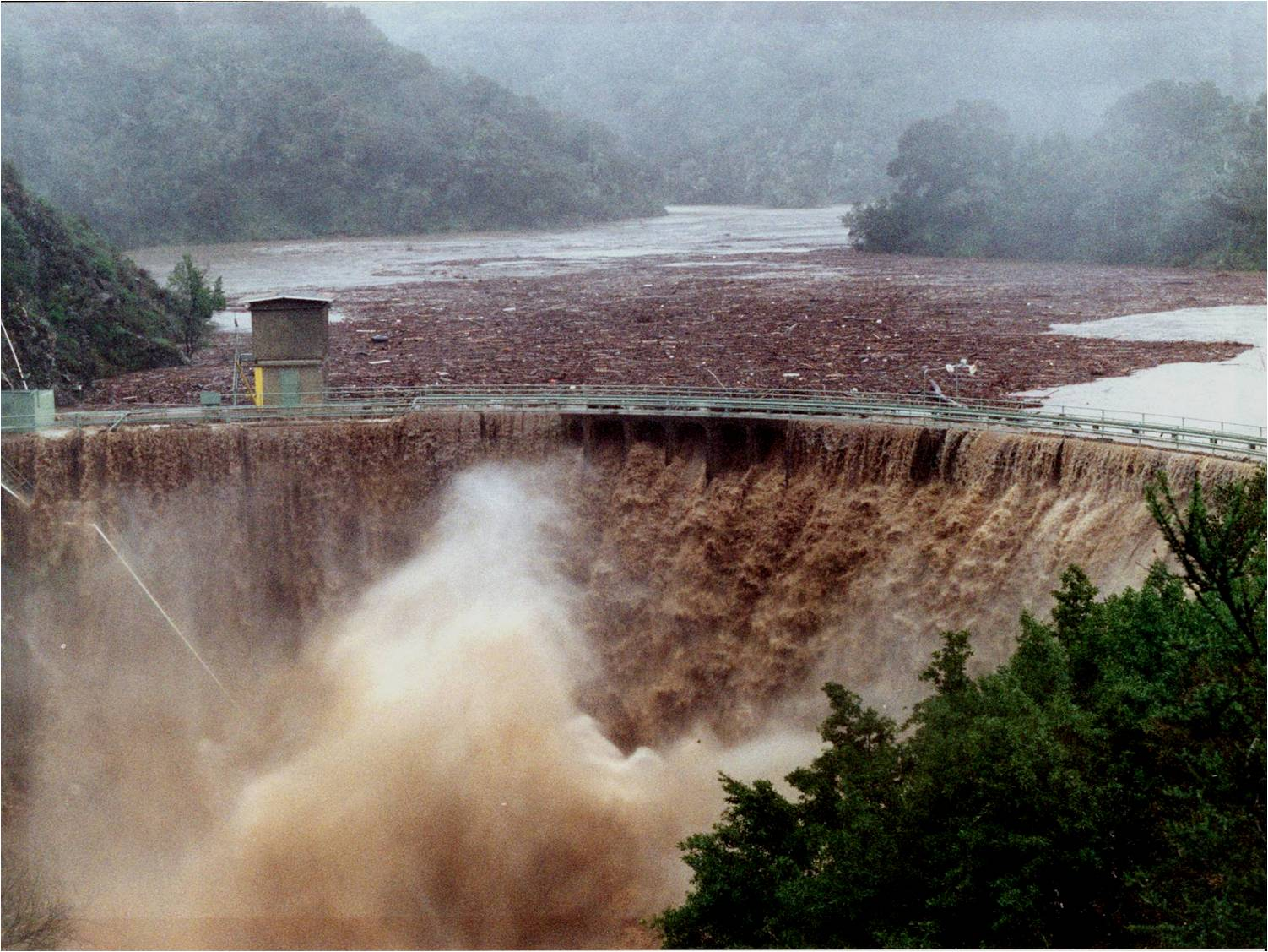 San Clemente Dam at flood flow -1998