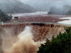 San Clemente Dam at flood flow -1998