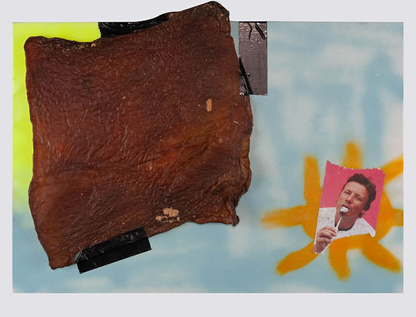 JAMIE IN THE SKY WITH CHICKEN 2018 - 50x70CM MIXED MEDIA ON CANVAS
