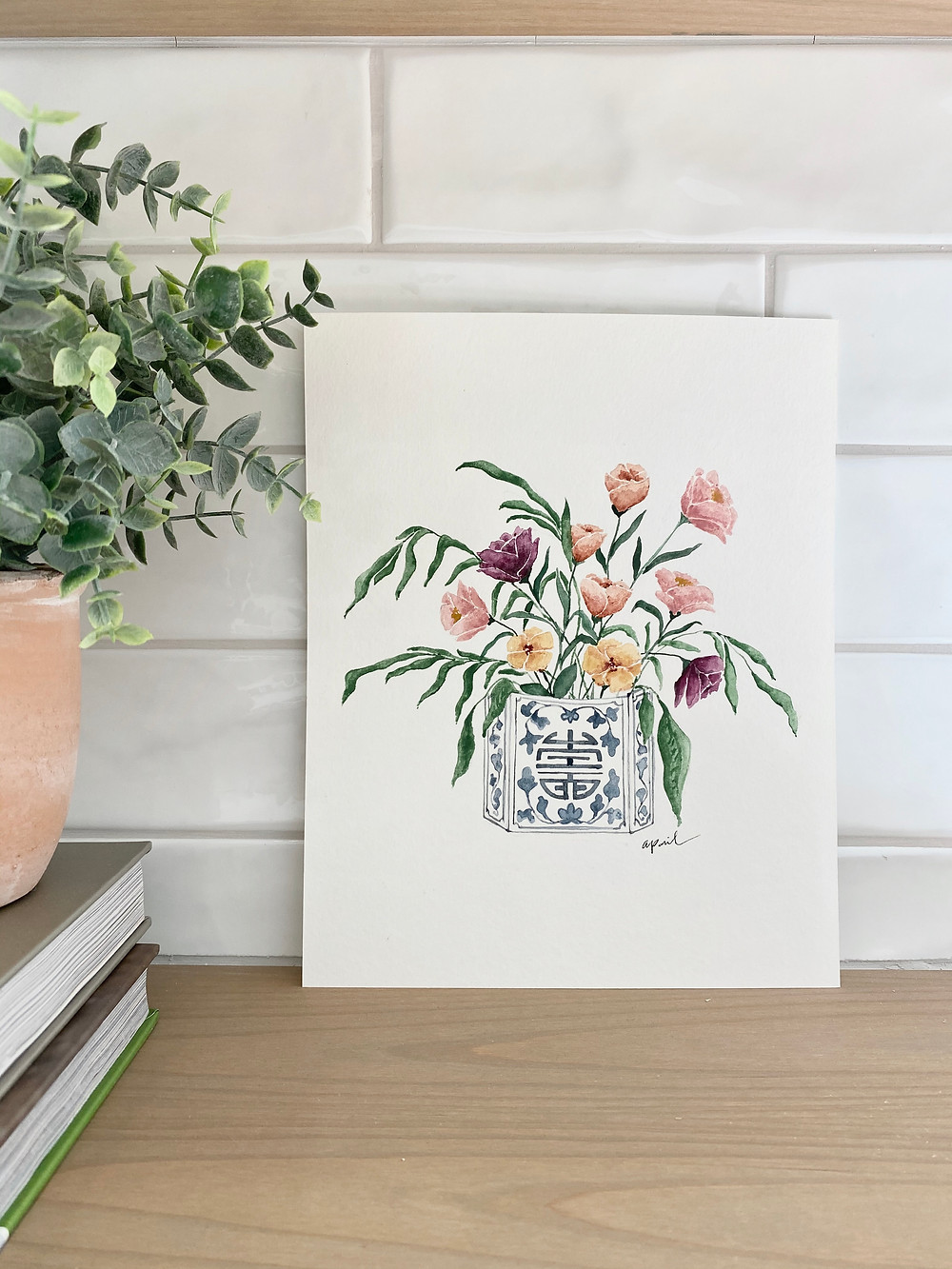 Watercolor floral bouquet painting