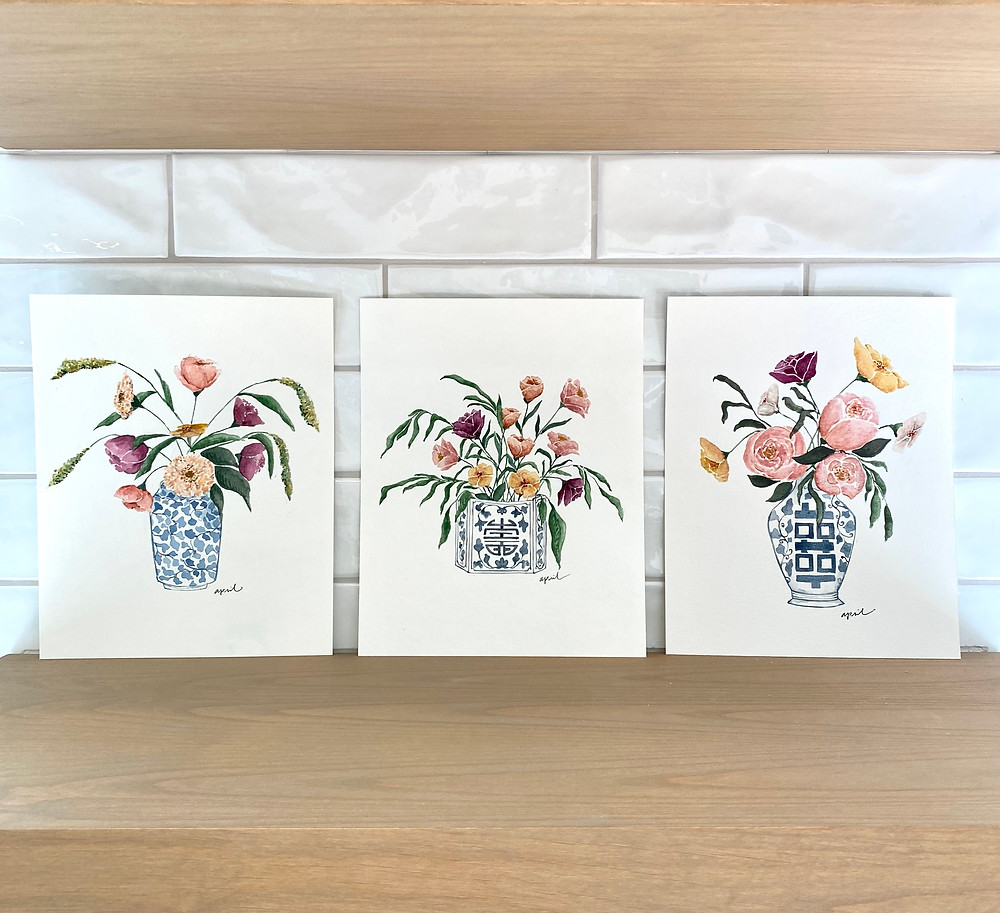 Watercolor floral paintings