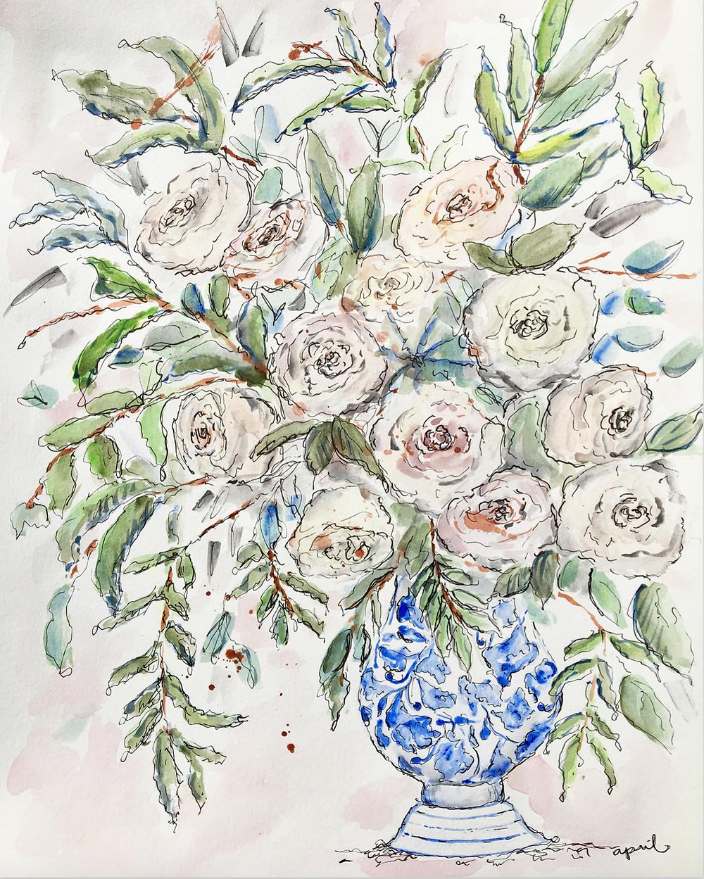 Blue China Roses