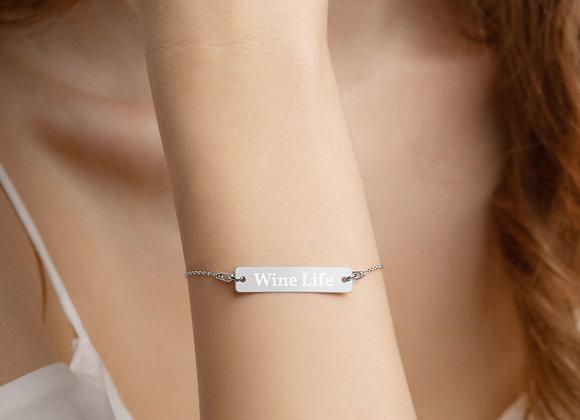 Wine Life Engraved Silver Bar Chain Bracelet