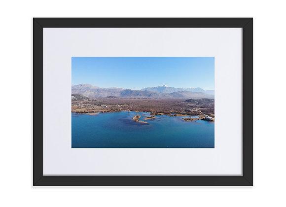 Lake Shkoder to Gradec Albania Matte Paper Framed Poster With Mat