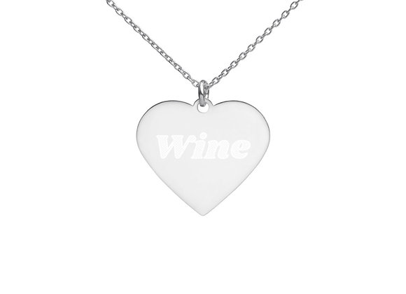 Wine Engraved Silver Heart Necklace